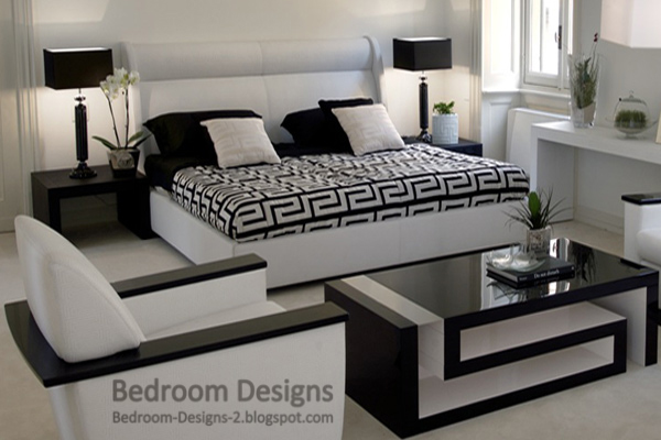 5 black and white bedroom designs ideas for Bedroom furniture layout ideas