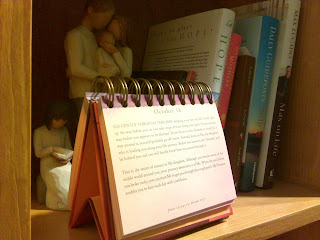 Jesus Calling calendar on bookshelf
