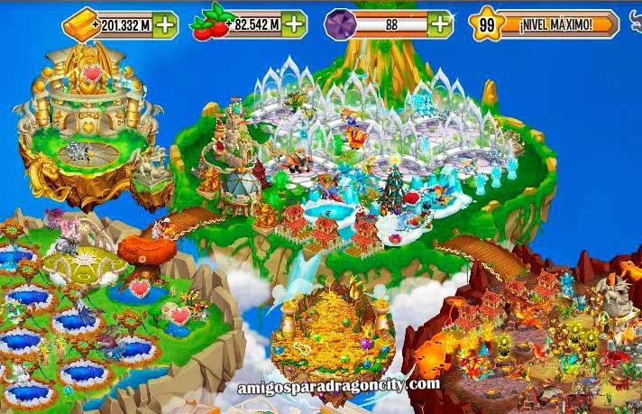 imagen de la isla rica de dragon city de facebook