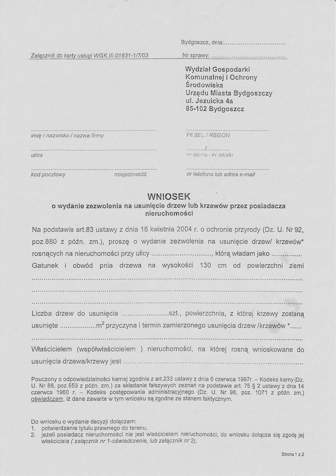 Wniosek o wycinkę drzewa, Warszawa, firma