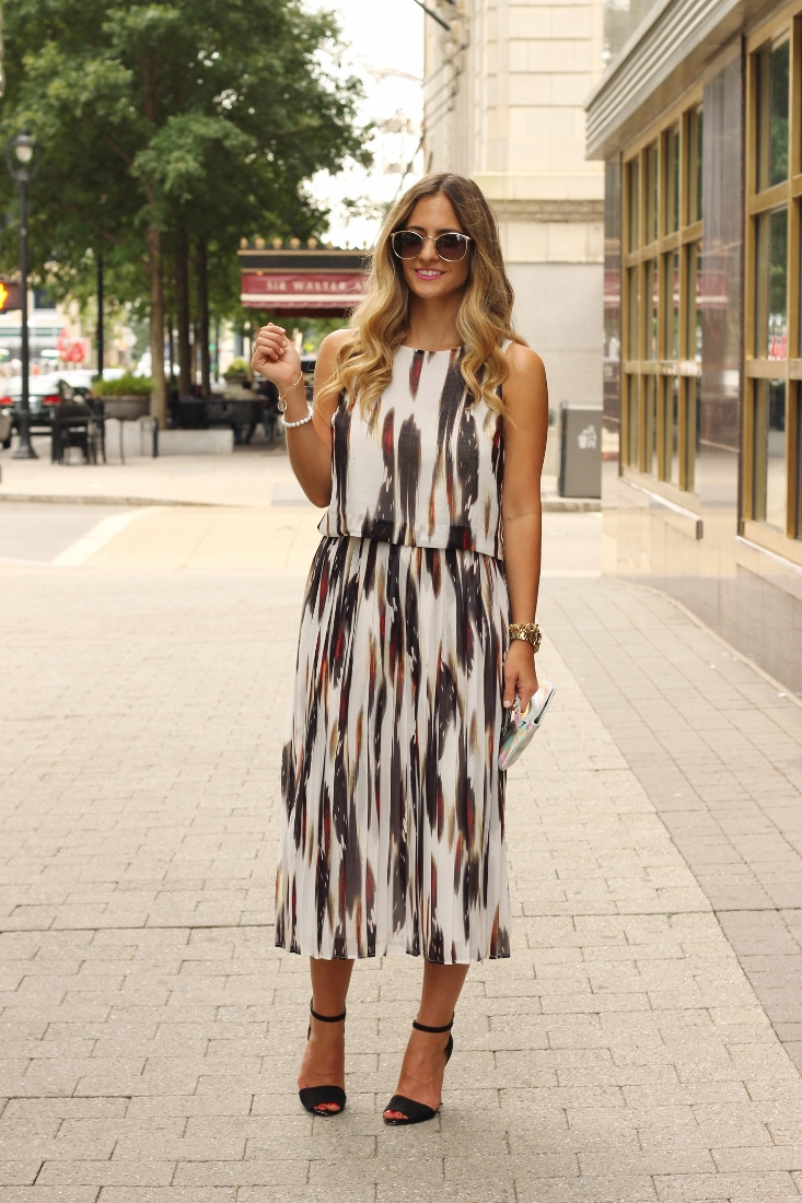 Matching crop top and skirt set