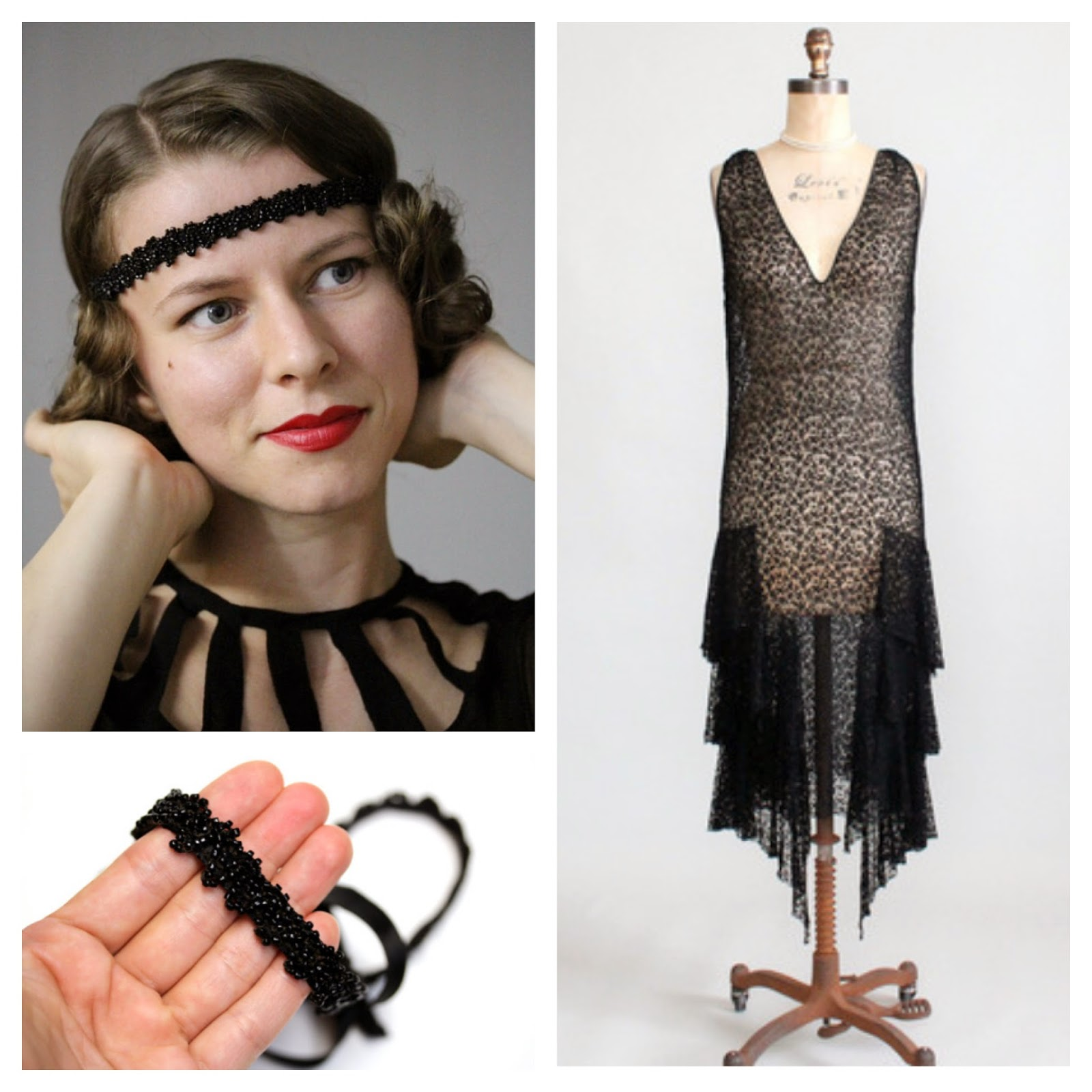1920s Dream Pairing #1920s #dress #lace #black #vintage #hair