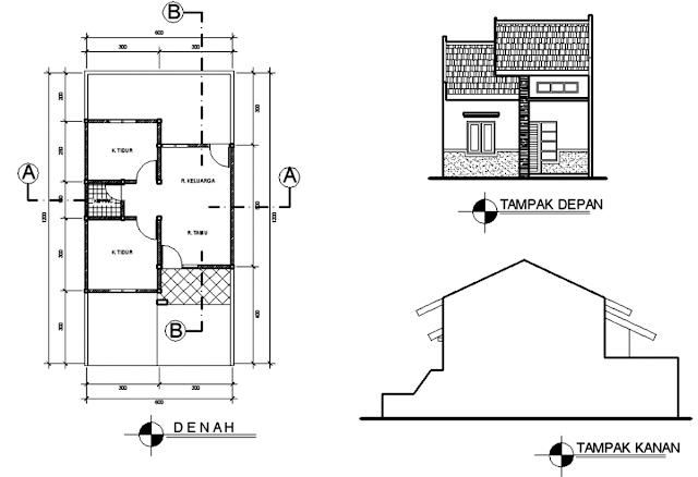 Denah Rumah Minimalis Type 36 2 Kamar