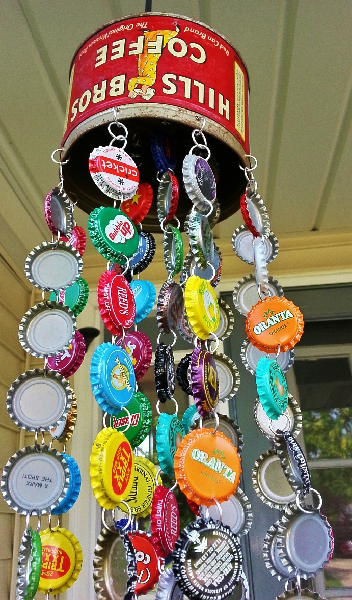 Kelli nina perkins bottle cap chime for How to make a table out of bottle caps