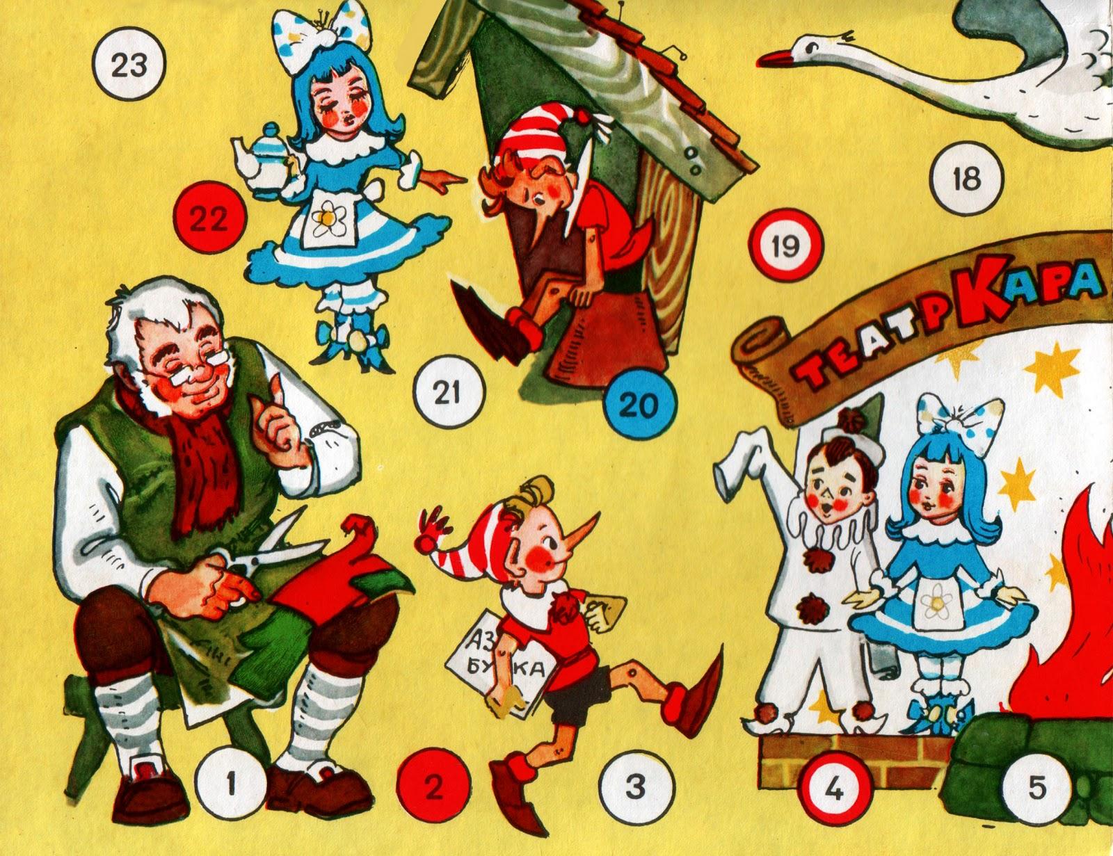 Настольная игра Приключения Буратино СССР