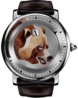 Montre Cartier d'Art Heures Sautantes Marqueterie de bois avec décor ours référence HPI00329