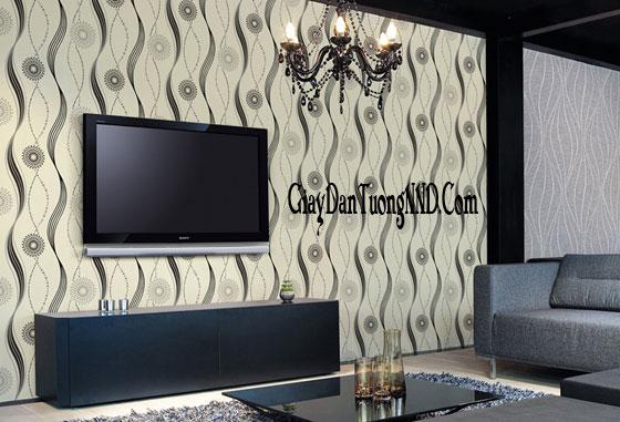 Sử dụng giấy dán tường cao cấp cho phòng khách