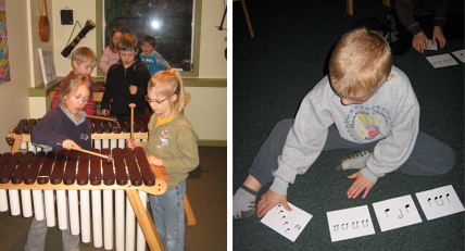 playing music games and helping each other at Woodruff Music School
