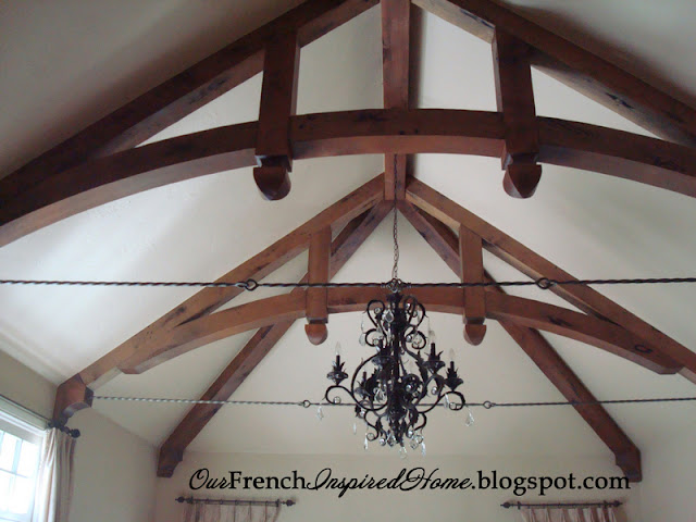 Our french inspired home rustic ceiling beams old world for Wood beam ceiling designs