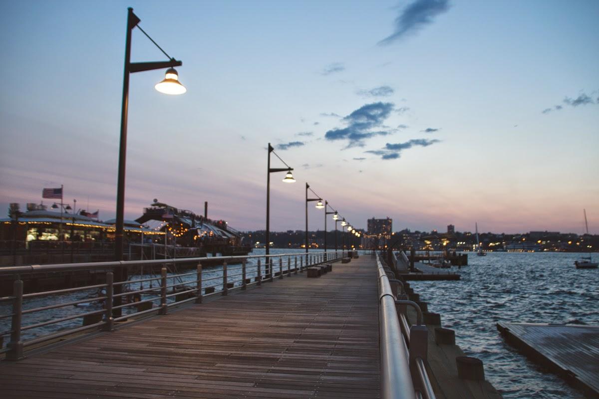 hudson river park evening pier