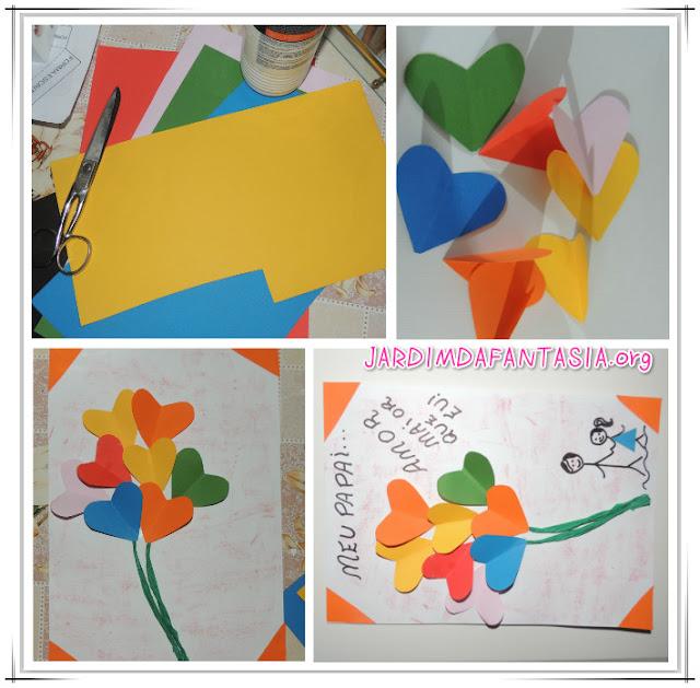 Cartão buquê de corações em 3 d e desenho pais e filhos