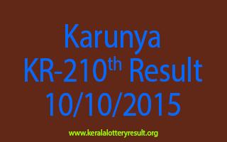 Karunya KR 210 Lottery Result 10-10-2015