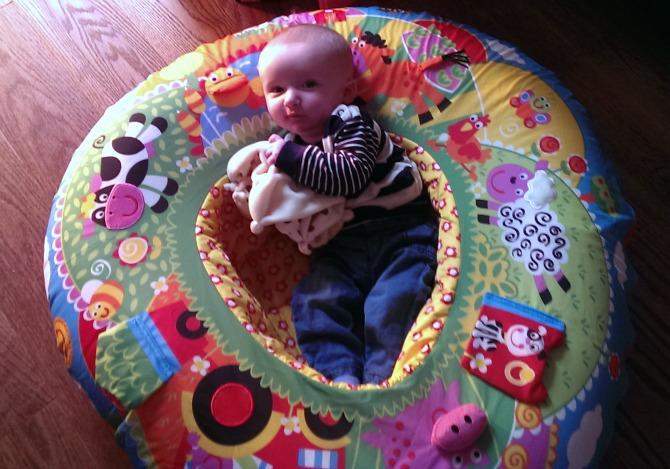 Squidge in his Galt Playnest