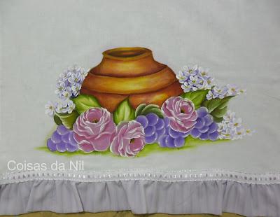 """""""pano de copa com pintura de pote com rosas e uvas"""""""