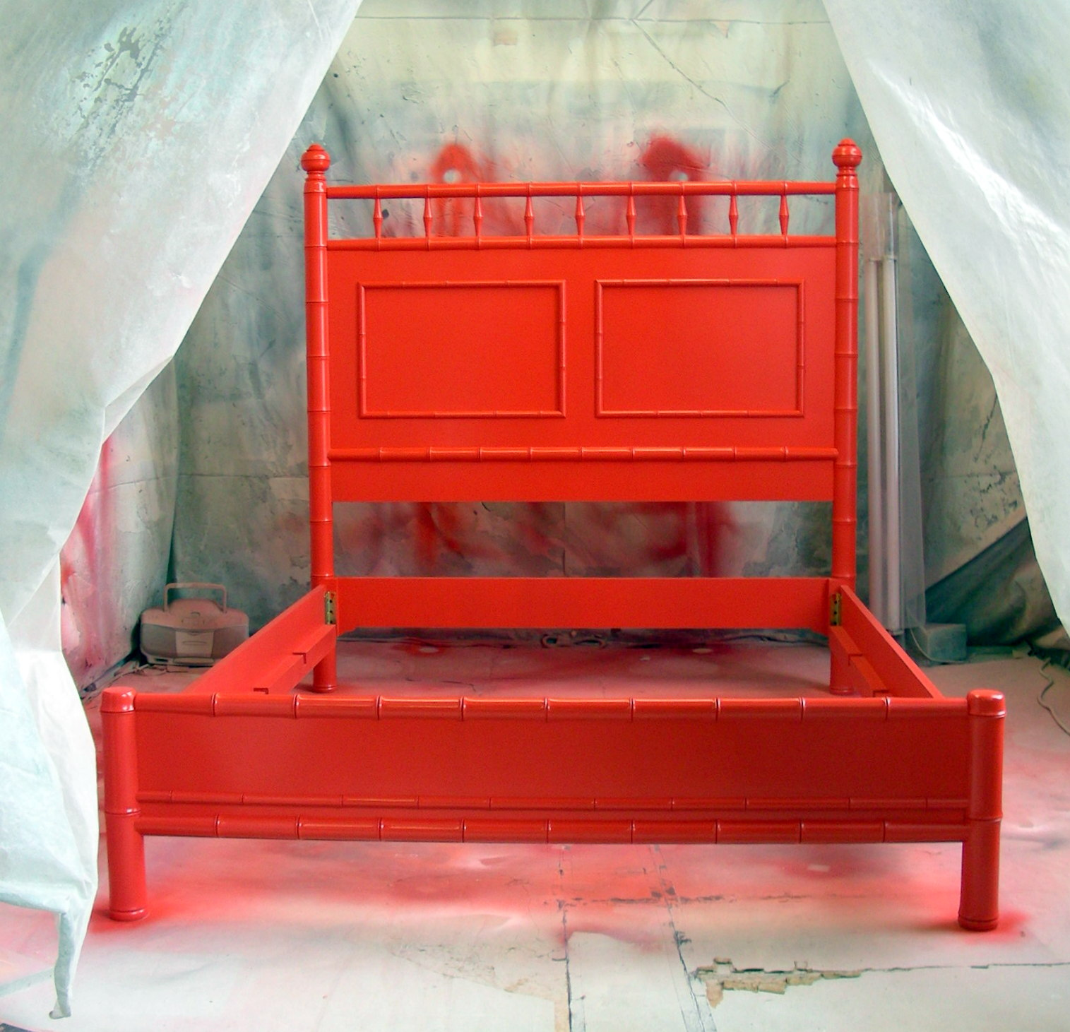 Bright Red Bamboo Bed. Sydney Barton   Painted Furniture  Bright Red Bamboo Bed