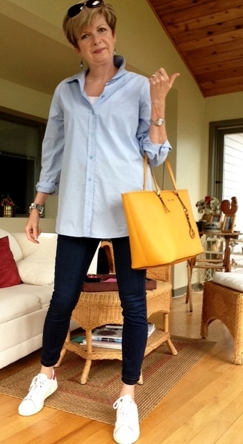 Equipment blue shirt, Paige high-rise skinny jeans, Stan Smith Adidas, Michael Kors tote
