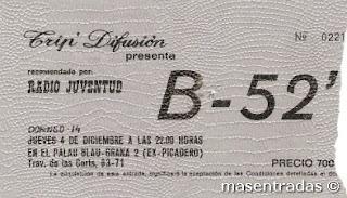 entrada de concierto de the b-52-s