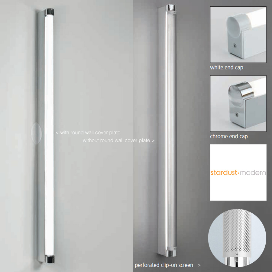 Basic strip bathroom wall light silver white artemide for Bathroom mirror with lights