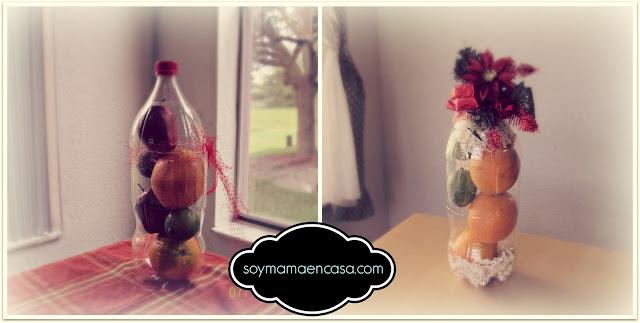 hacer adornos de mesa reciclando botellas plasticas
