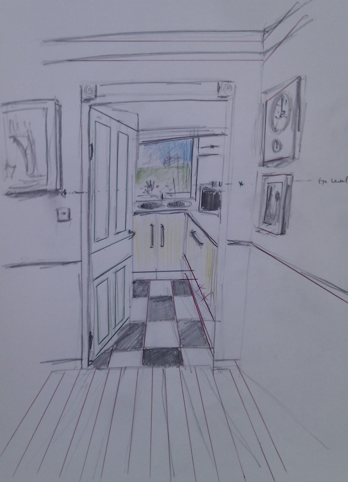 open door drawing perspective. Exercise - Parallel Perspective An Interior View. Open Door Drawing I