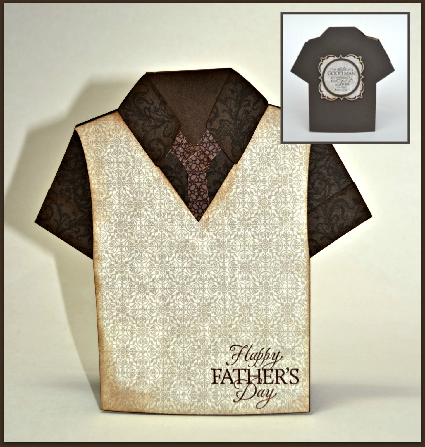 Shirt design card - The Shirt Is Cut From Espresso Card Stock And Stamped With The Vine From The Belles Vignes Stamp Set To Add A Design To The Card Stock
