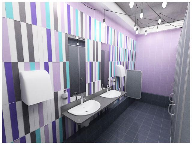 дизайн интерьера офисного туалета, общественный туалет