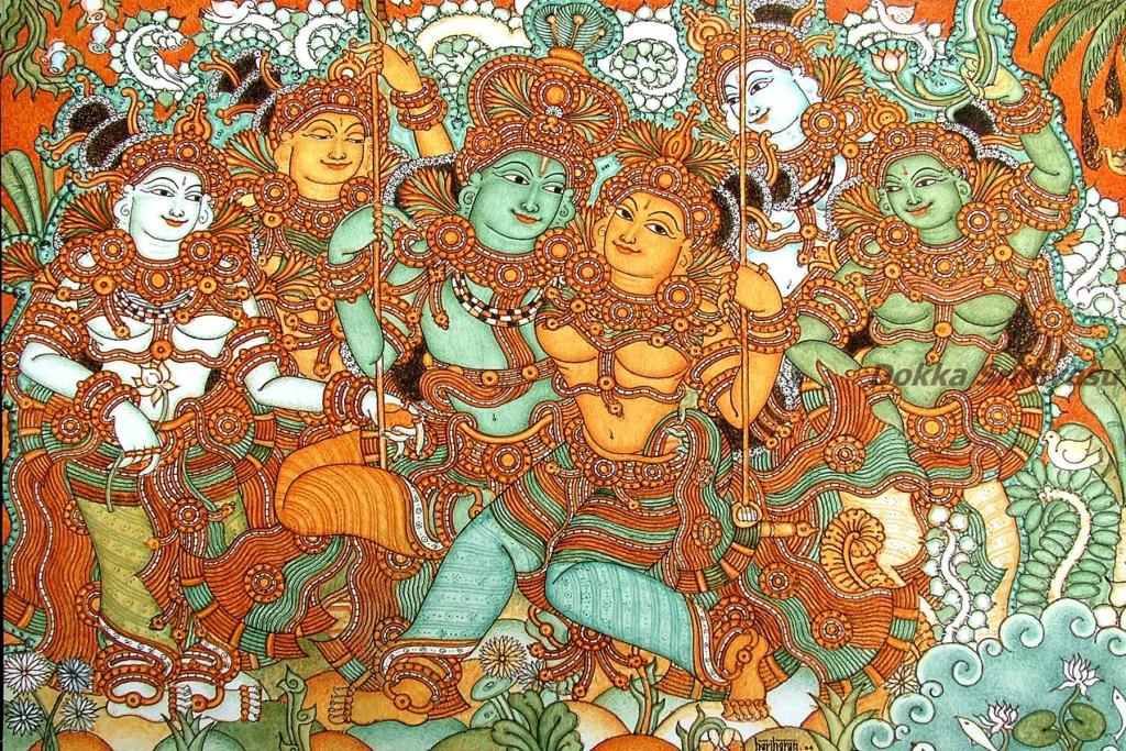 heritage of india kerala mural paintings buy radha krishna wall hanging handmade wall mural