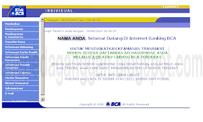 display setelah login klik bca