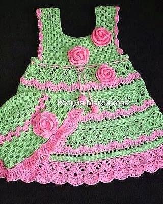 Vestido de Bebé Verde a Crochet