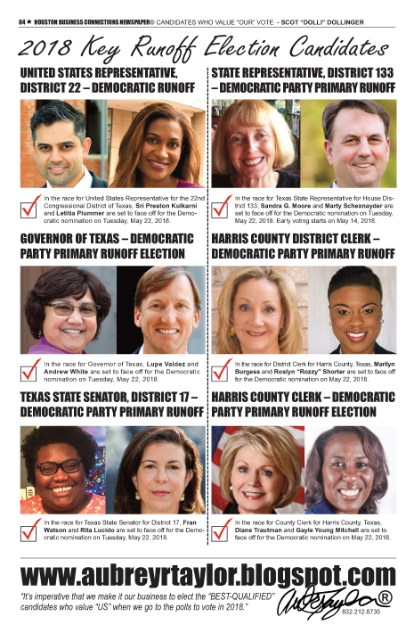 PAGE 4 - HOUSTON BUSINESS CONNECTIONS NEWSPAPER© RUNOFF ELECTION - PART 1 of 3