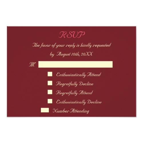 Regretfully Attend | Funny Wedding RSVP Invitation Card