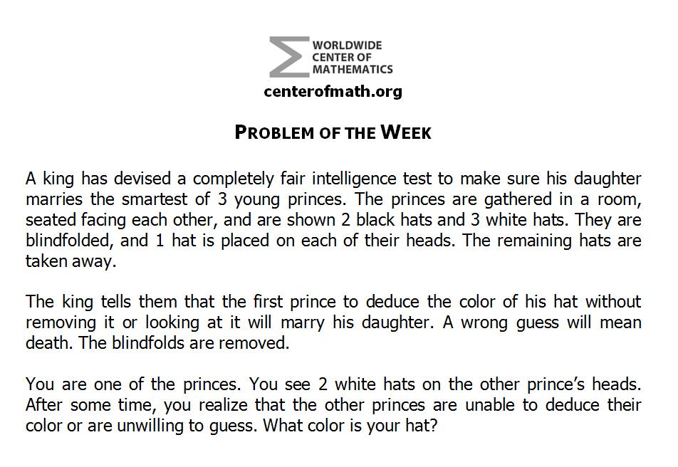 The Center of Math Blog: Problem of the Week