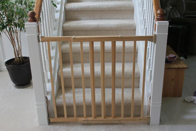 Beauty in the ordinary installing a baby gate without for Wooden stair gate ikea
