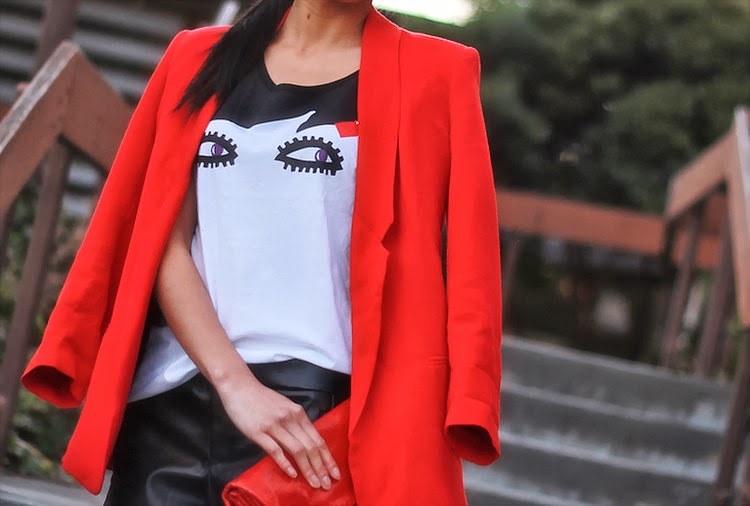 red blazer leather shorts graphic tee uniqlo lulu guinness