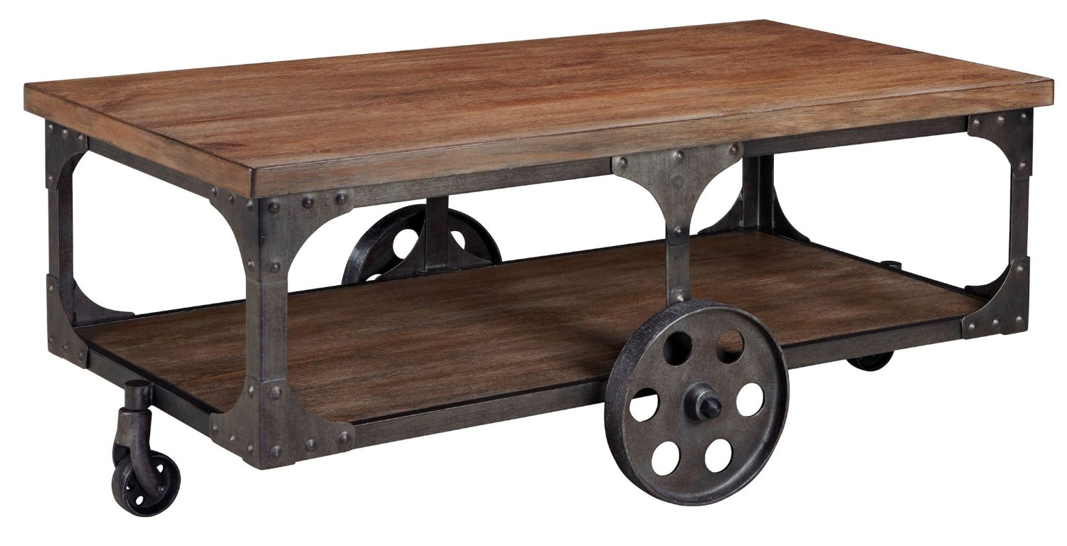Superb img of Modern Warehouse Wood & Metal Coffee Table with Caster Wheels with #845D47 color and 1500x768 pixels
