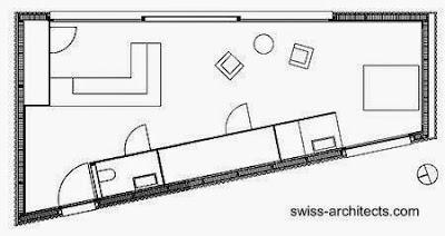 Plano arquitectónico de la casa suiza