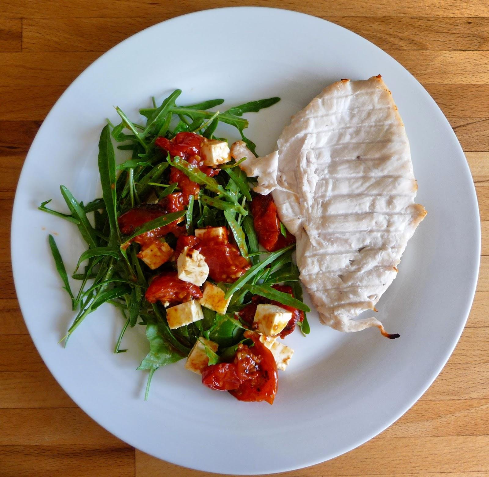 Lancashire Food: Rocket, roasted tomato, basil and feta salad