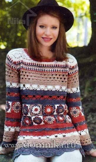 kolorowy sweter szydelkiem