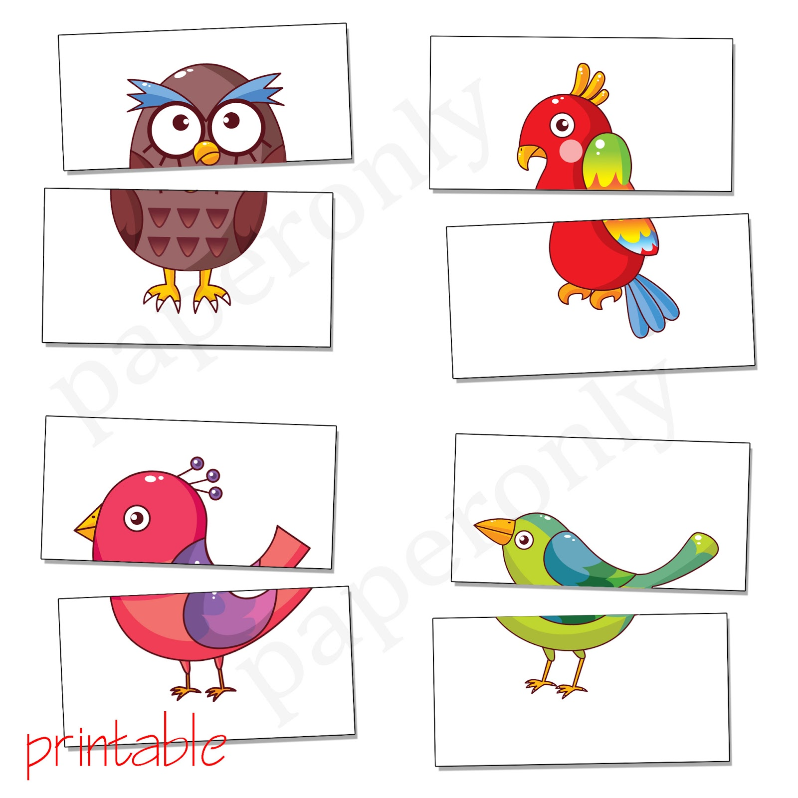 printables: complete the birds - flash card - printable PDF