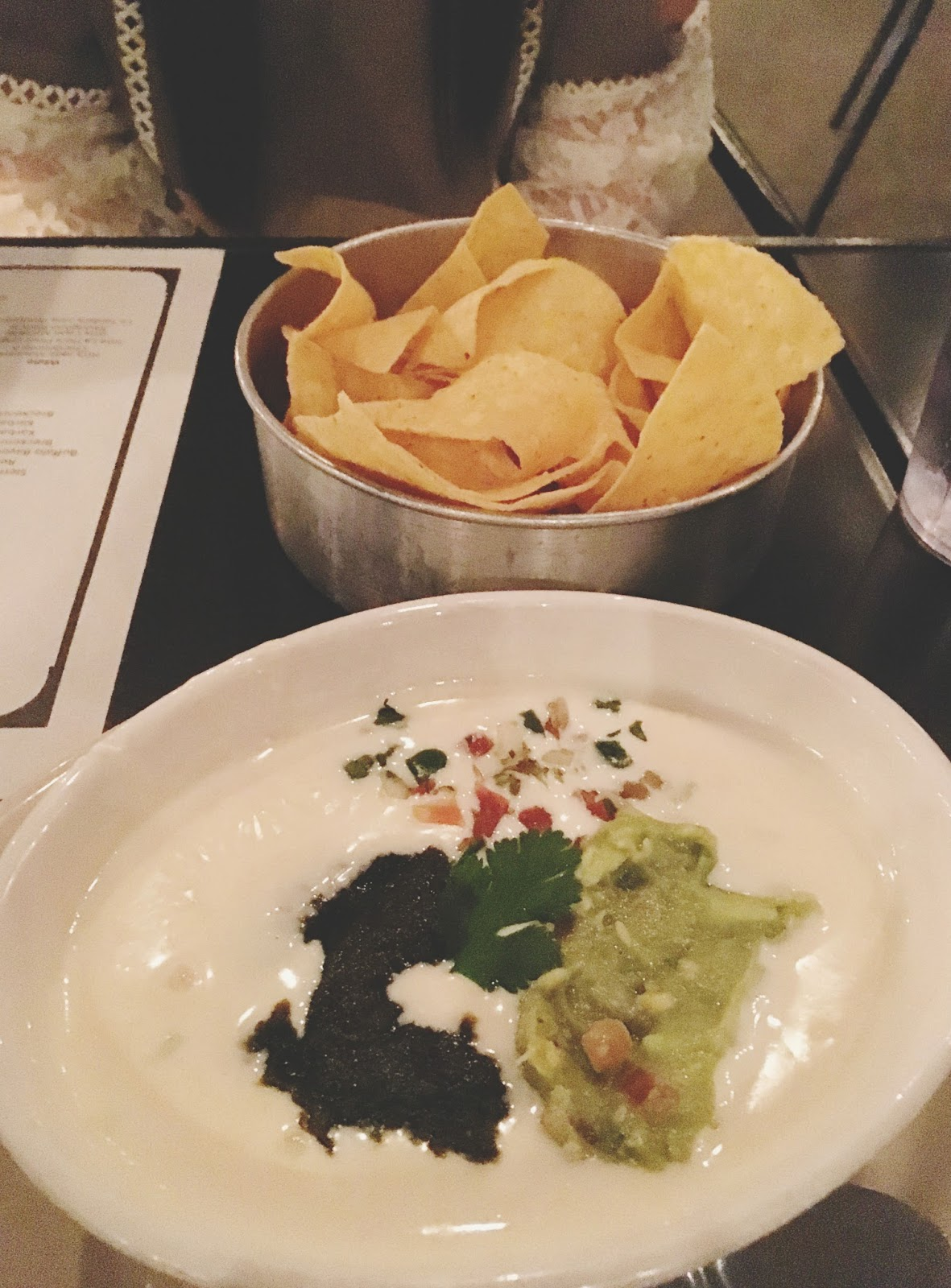 the holy queso with guacamole at La Grange restaurant in Houston