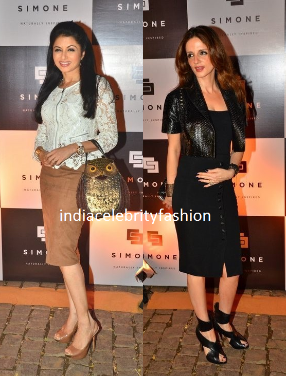 Bhagyashree and Suzanne at Simone stores Anniversary