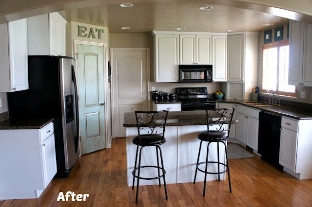 365 days of slow cooking white painted kitchen cabinet for Kitchen cabinet painting before and after