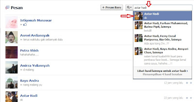 mencari kembali pesan-pesan lama di facebook