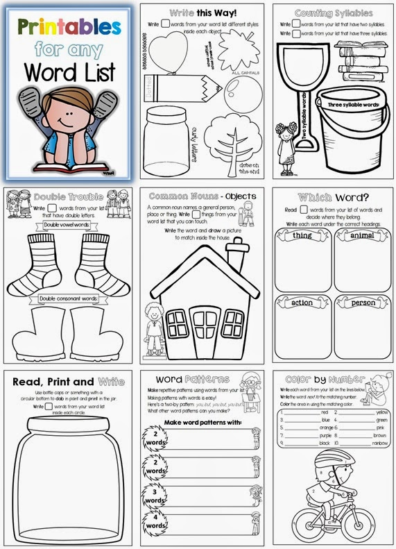 Printables for any Word List file TpT