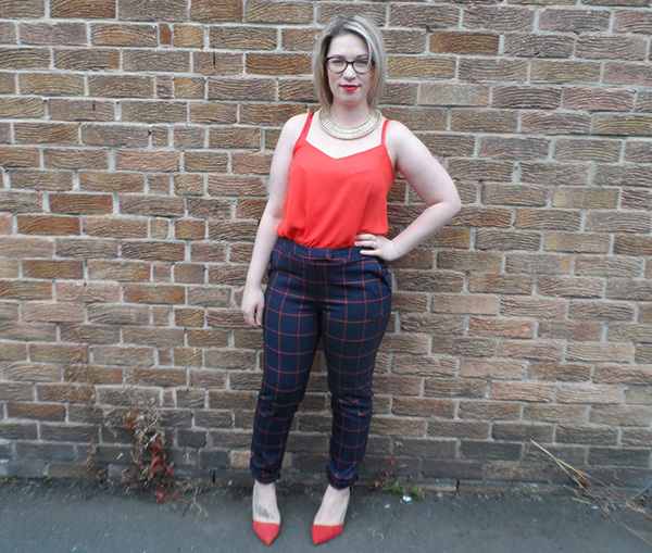 New Look Red Cami; New Look Navy Check Trousers; Zara Red Heels