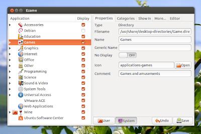 """Jika Anda tidak menggunakan Unity, dari Ezame menu pilih Edit> Preferences dan kemudian mengatur desktop untuk """"Classic"""" bukan """"Ubuntu"""" - menggunakan ini, aplikasi harus menampilkan menu freedesktop gantinya. Versi Ezame terbaru ini juga dilengkapi dengan dukungan Cinnamon awal."""
