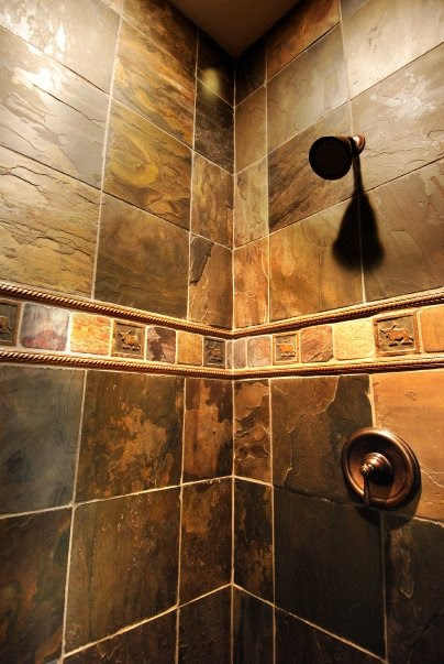 Rustic Shower Wall Design