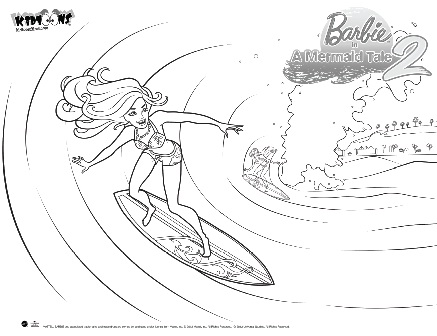 Barbie: Paginas para colorear de Barbie en una aventura de sirenas 2