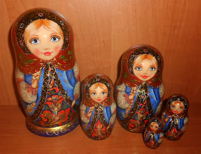 "Nesting dolls (matryoshka) with painting in russian style khokhloma handmade.Russia Souvenirs with autor's painting. Set of 5 puppets a tall matryoshka dolls largest 6.7"" (17 sm)"