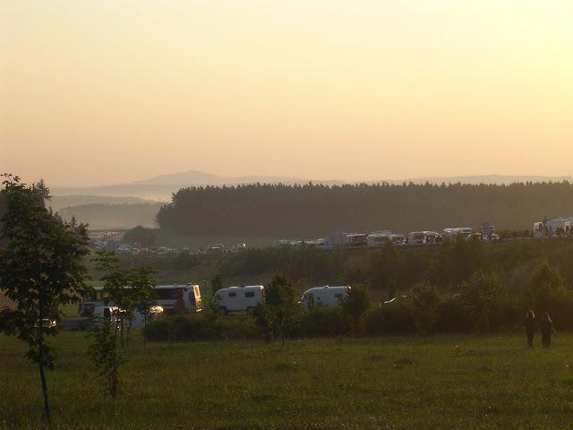 Convoy waiting to get on site at Czechtek 2005 after the Hekate truck got stuck